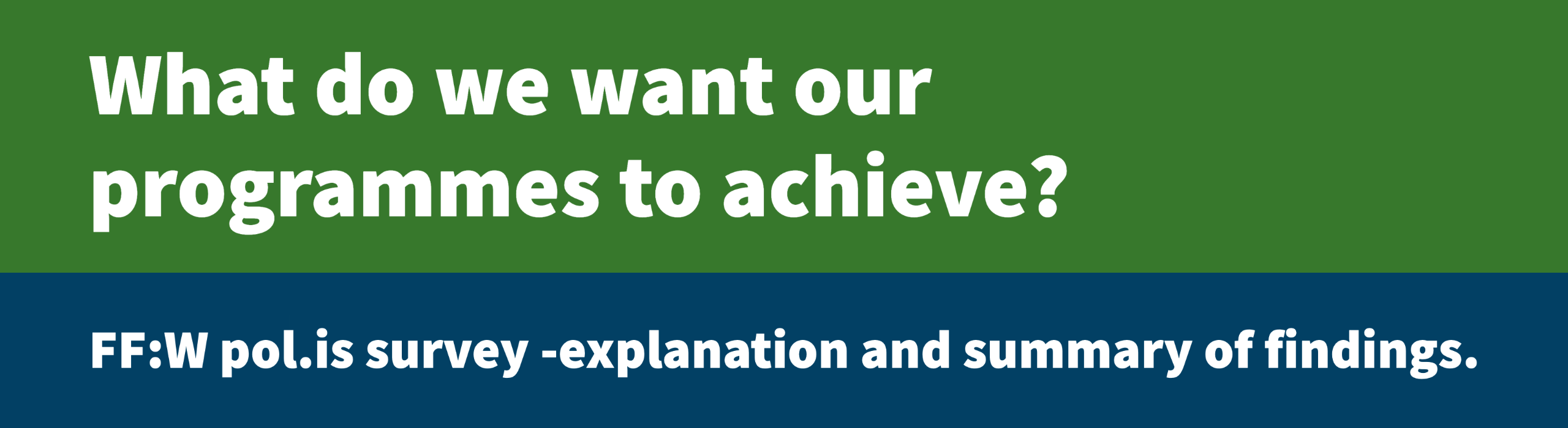 What do we want our programmes to achieve? FF:W pol.is survey - explanation and summary of findings